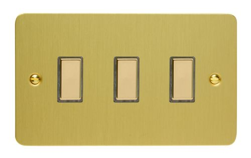 Varilight JFBES003 Ultraflat Brushed Brass 3 Gang Touch Dimming Slave (use with V-Pro Master)
